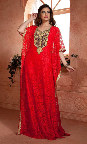 Red and Black color Net Brasso Thread Work Arab Dubai Style kaftan-Final sale