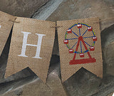 Carnival Birthday Decor, Ferris Wheel Personalized Banner