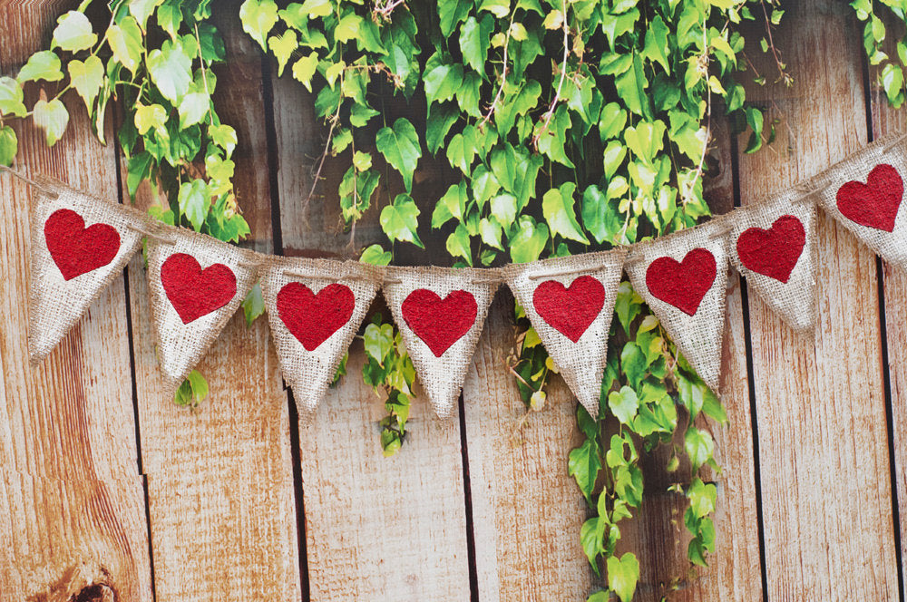 Rustic Heart Banner, Valentine's Day Burlap Banner, Heart Burlap Banner, Glitter heart, B027