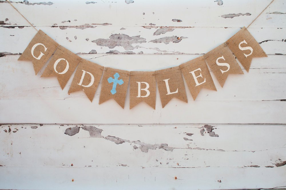 God Bless Banner, First Communion Banner, Christening Banner, Baptism Banner, Confirmation Banner, Cross Banner, Religious Banner, B086