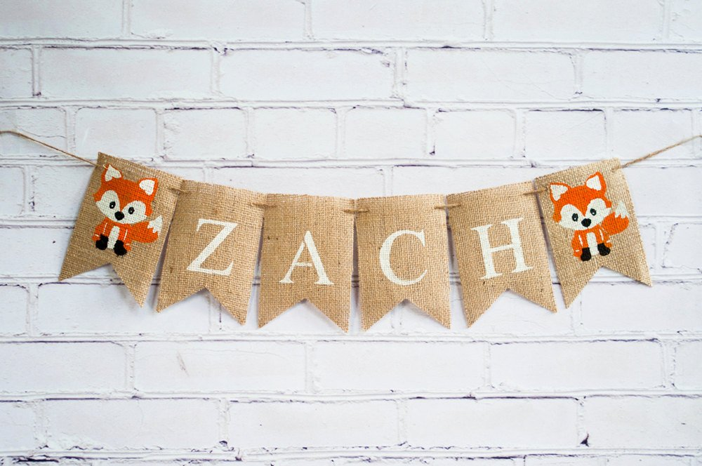 Woodland Party Decor, Custom Fox Banner, Woodland Baby Shower Decoration, Woodland Nursery Decor,  Personalized Fox Banner, B240