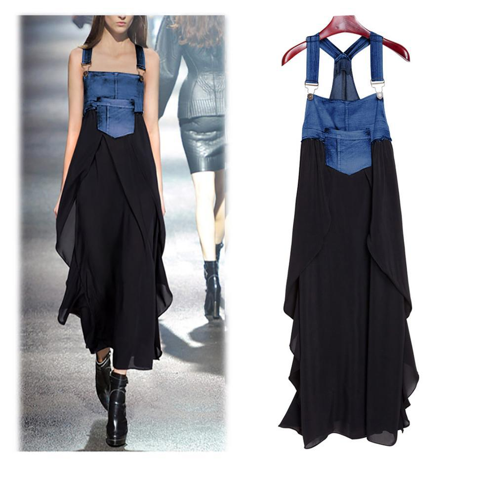 Fashionable Chiffon Skirt Loose Denim Casual Dress