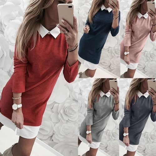 Lapel One Piece Long Sleeve Shift Dresses