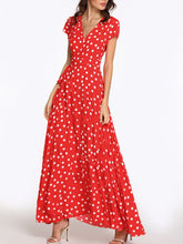 Load image into Gallery viewer, Deep V Neck  Belt  Print  Short Sleeve Maxi Dresses