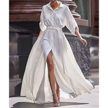 Load image into Gallery viewer, Button Down Collar  Roll Up Sleeve Half Sleeve Maxi Dresses
