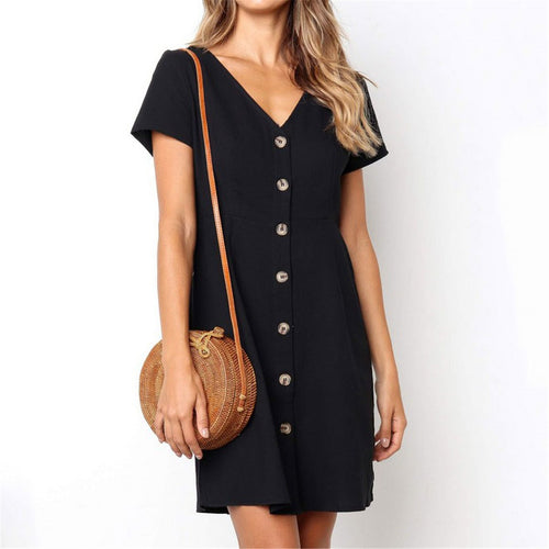 Daily Plain  V Collar Loose Shift Dress
