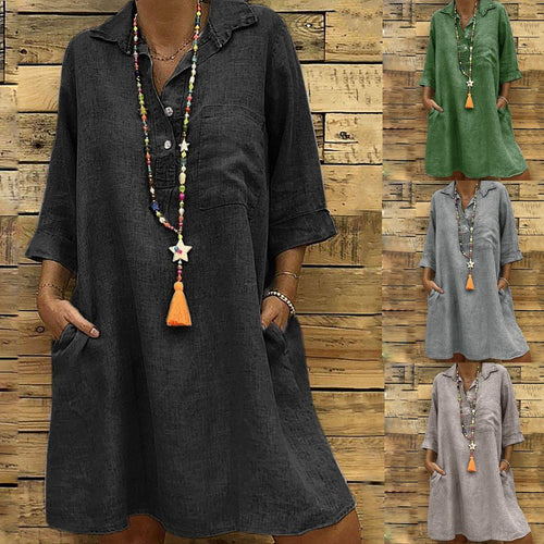Fashion Lapel Plain Loose Shift Dresses