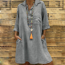 Load image into Gallery viewer, Fashion Lapel Plain Loose Shift Dresses