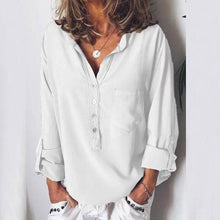 Load image into Gallery viewer, European And American Pure Long-Sleeved Fashion Loose V-Collar Shirt