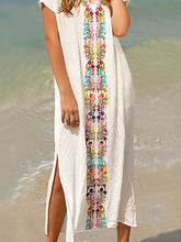 Load image into Gallery viewer, Bohemian Pleated Printed Colour Slit Dress
