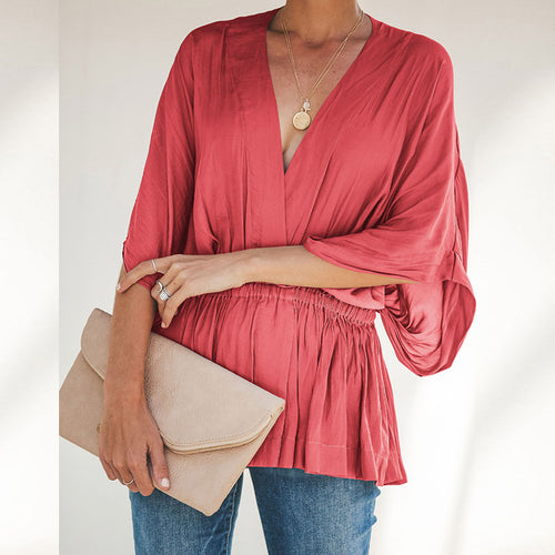 European And American Loose Bat Sleeve V Collar Blouses