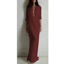 Load image into Gallery viewer, Solid Color Split-Side Stand Collar Maxi Dress