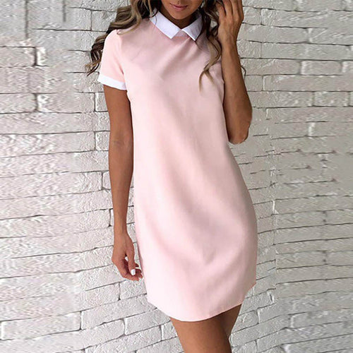 Turn Down Collar  Plain Shift Dresses