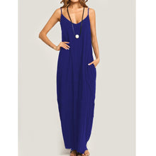 Load image into Gallery viewer, Summer Spaghetti Strap Pocket Plain Maxi Dress