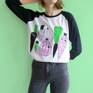 SCORCHED or MISPRINTED 3 Color Veggie Raglan Baseball Tee in Black and White