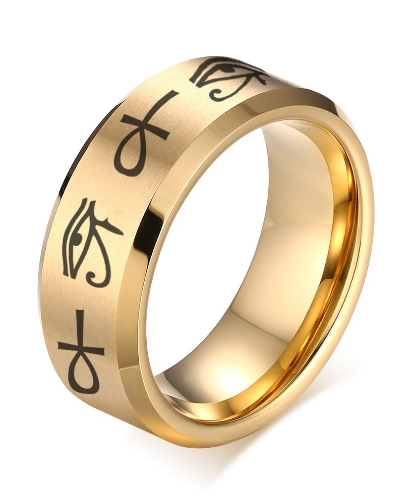 VNOX 8MM Gold Plated Stainless Steel Egypt Eye of Horus Ankh Cross Engagement Wedding Ring,Size 12