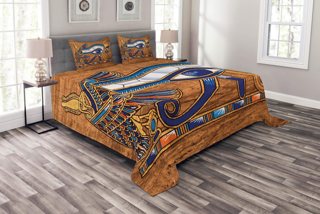 Lunarable Egyptian Bedspread Set Queen Size, Egyptian Ancient Art Papyrus Depicting Eye Mosaic Style Design, Decorative Quilted 3 Piece Coverlet Set with 2 Pillow Shams, Navy Blue Orange and Brown