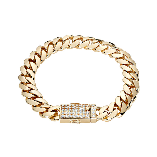10K Solid Miami Cuban Link Bracelet with Iced Out Clasp