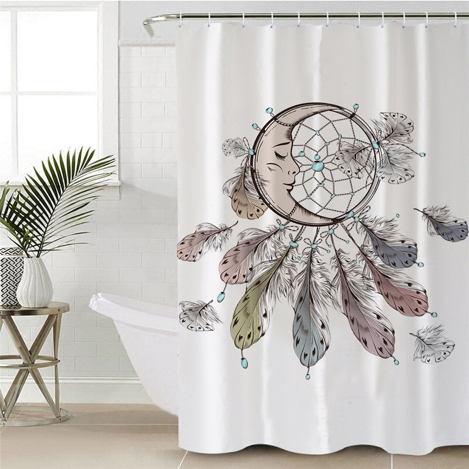 Sleeping Moon Dream Catcher Shower Curtain - eCasaMart