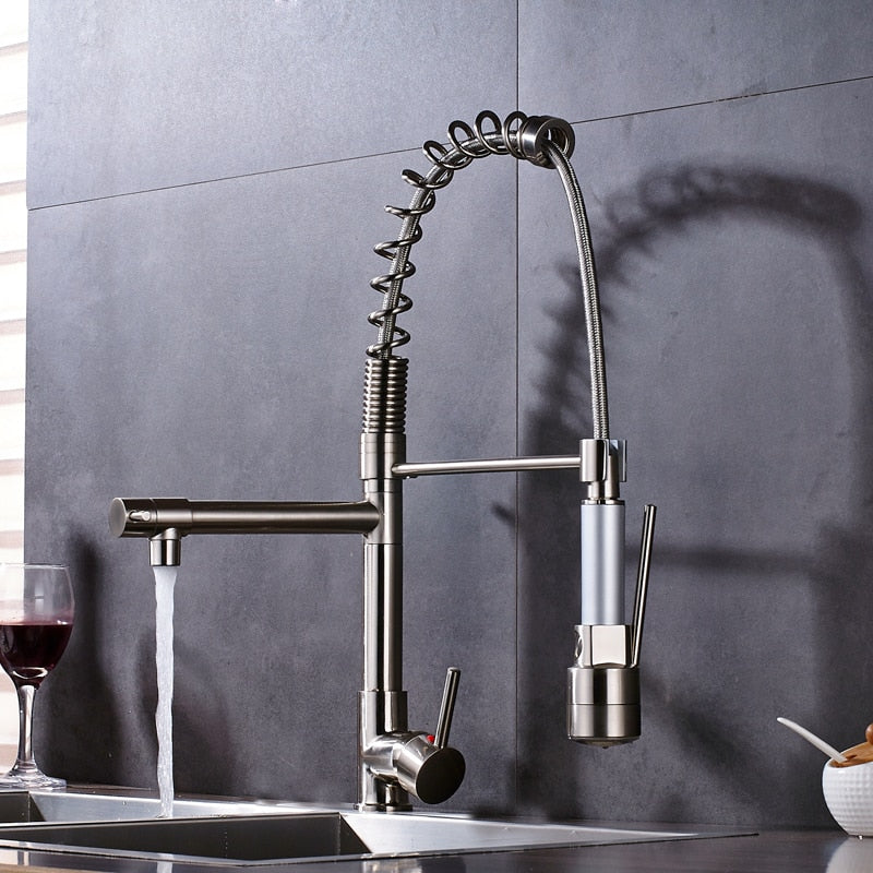 Lecce Deck Mount LED Brushed Nickel Kitchen Faucet with Pull Out Sprayer & Hot / Cold Mixer - eCasaMart