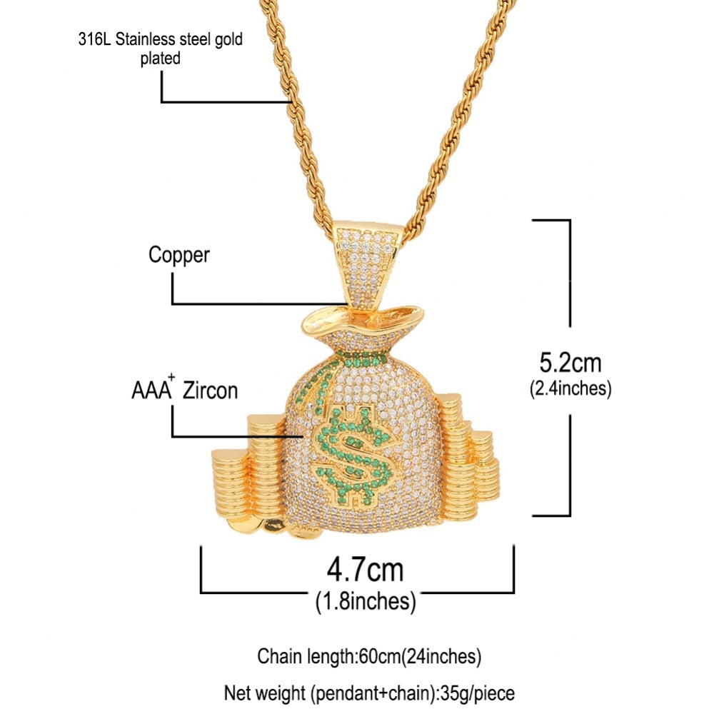 Iced Out Money Bag Pendant Necklace - eCasaMart
