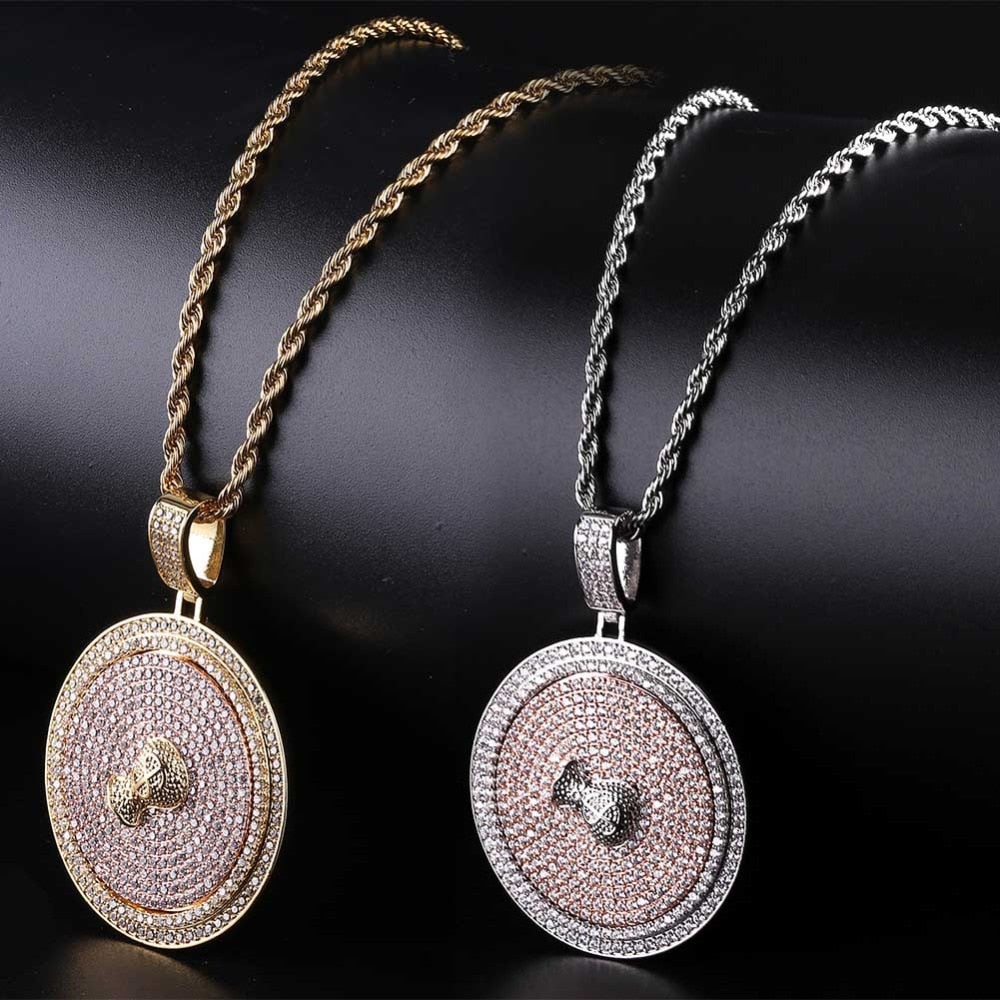 Iced Out Spinner Pendant Money Bag with Necklace - eCasaMart
