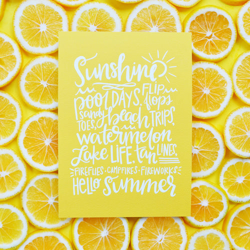 Hello Summer Favorites yellow art print