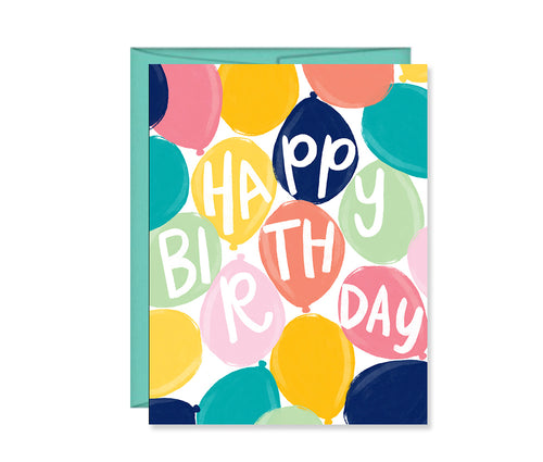 Happy Birthday, birthday balloons greeting card