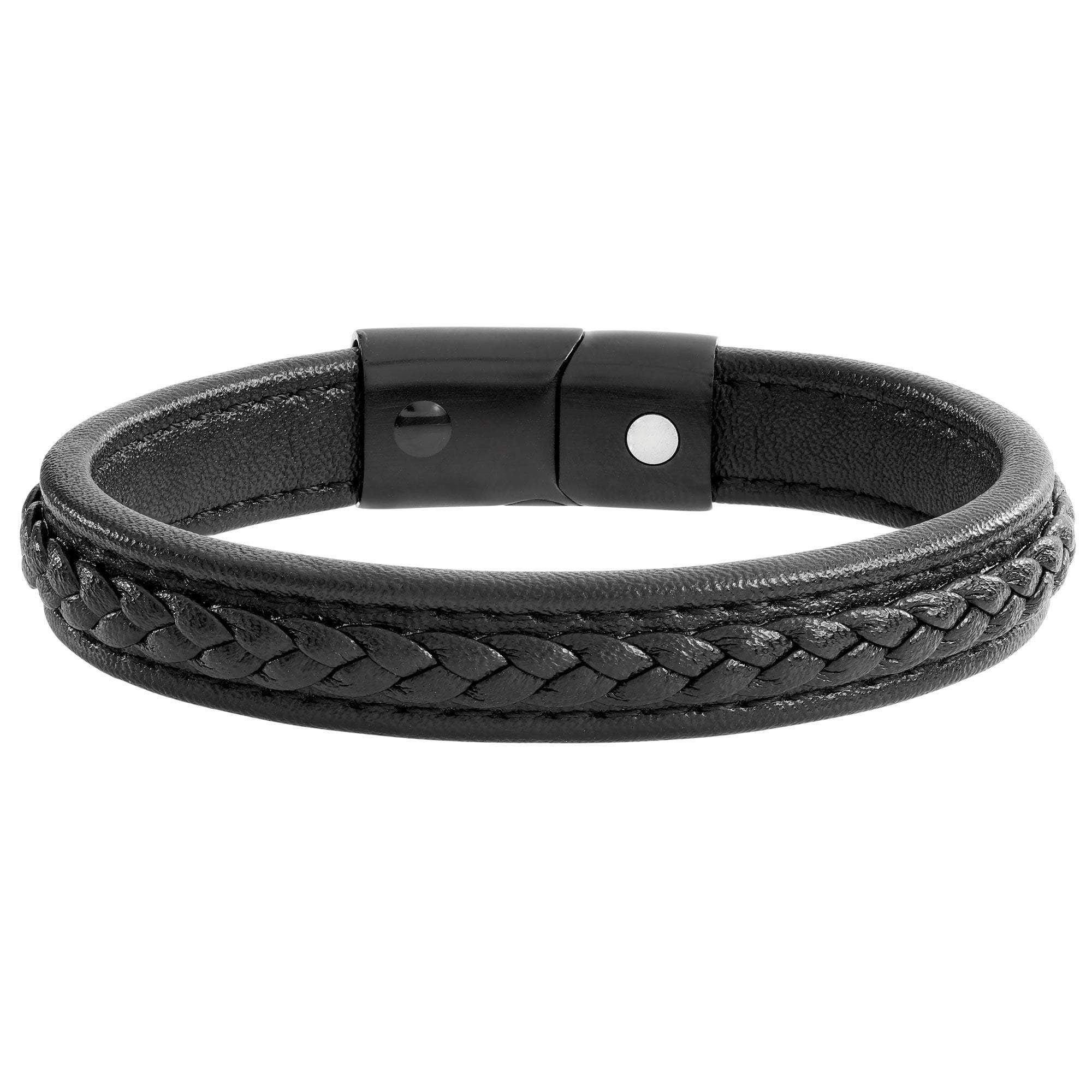 Black Magnetic Leather Plait Bracelet