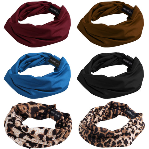 FRCOLOR 6pcs Sweat Wicking Stretchy Athletic Print Wide Bandana Headbands Head Wrap Yoga Headband Head Scarf Stylish Head Band for Sports Workout Fitness Party Prom