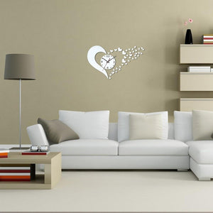New DIY Home Modern 3D Mirror Wall Clock Love Sticker Home Living Room Decor Hot