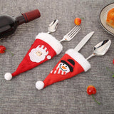 Christmas Decorations for Home Cute Non-Woven Fabric Christmas Knife Fork Bag Home Xmas Party Dinner Decor Kitchen Accessories