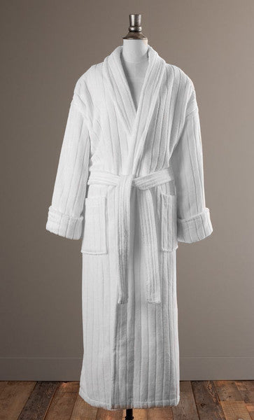 The Regal Stripe Bathrobe - Textured Velour