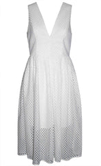 Gridlock White Midi Dress