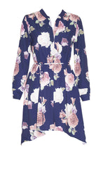 Alana Navy Floral Shirt Dress