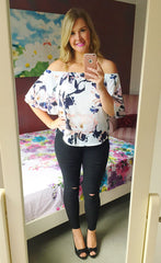 Barcelona Peach Floral Top