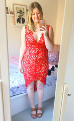 Lean In Red Lace Dress