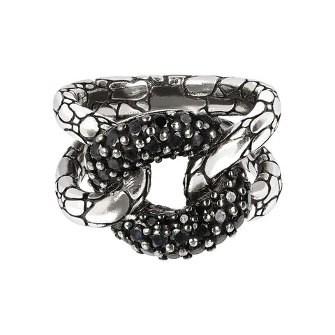 Black Spinel Snake Knot Ring