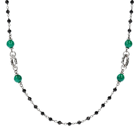 Green Onyx and Black Spinel Necklace