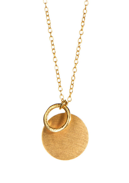 Coin and Circle Kette Gold