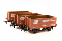 Copy of Golden Valley GV6013 British Steel BSC 3 Pack 7 Plank Open Mineral Wagons