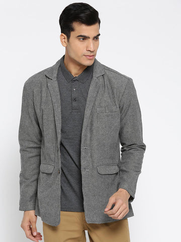 FIFTY TWO Grey Melange Regular Fit Single-Breasted Casual Blazer