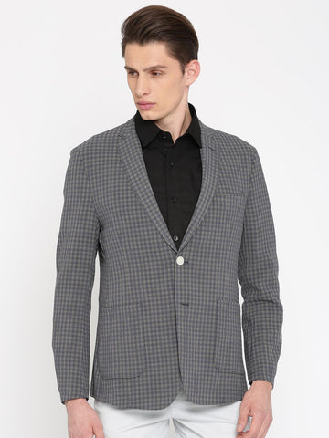 Peter England Beige & Navy Checked Euro Fit Single-Breasted Formal Blazer