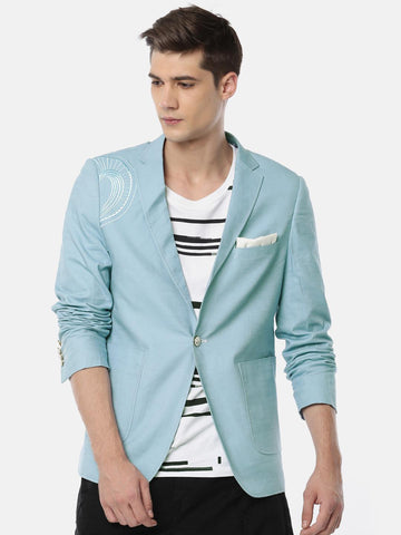 The Indian Garage Co Blue Single-Breasted Slim Fit Casual Blazer