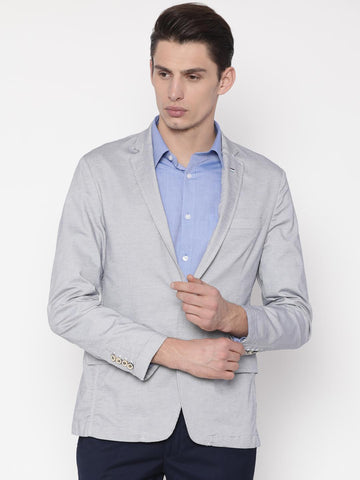 Park Avenue Blue Slim Fit Single-Breasted Casual Blazer