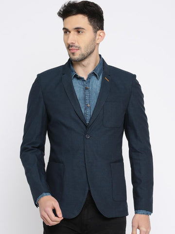 The Indian Garage Co. Navy Self-Design Slim fit Single-Breasted Casual Blazer
