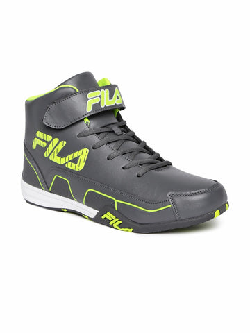 FILA Men Grey Synthetic Leather Torque High-Top Sneakers