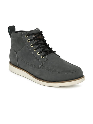 Quiksilver Men Charcoal Grey Sheffield High-Top Leather Sneakers