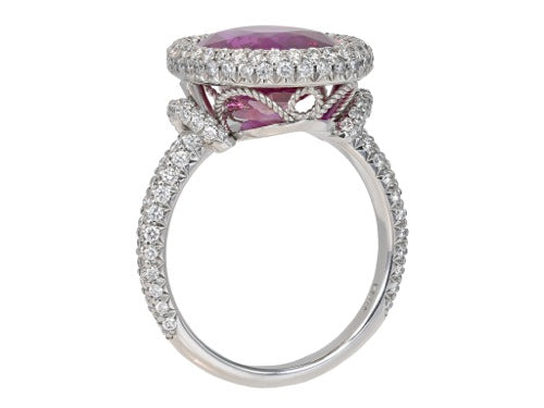 6.47ct Oval Shaped Pink Sapphire & Diamond Ring