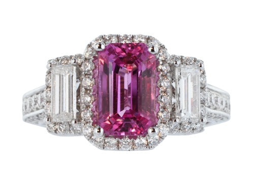 2.15ct Emerald Cut Pink Sapphire & Diamond Three Stone Ring
